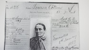 Death sentence: Louisa Collins' prison card.