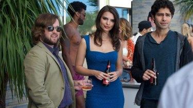 Haley Joel Osment, Emily Ratajkowski and Adrian Grenier in <i>Entourage</i>.