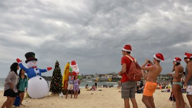 The storm rolls in over Bondi on Christmas Day.