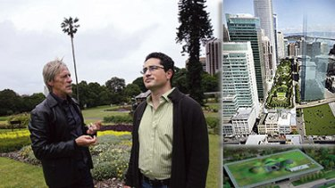 Garden variety ... Matt Dillon and Raphael Garcia on the roof of the Conservatorium of Music in Sydney, left. Mr Garcia has designed the roofs of the Transbay Transit Centre, top, and the  California Academy of Sciences, above, both in San Francisco.