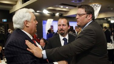 Glenn in Canberra on Tuesday with Clive Palmer and Ricky Muir.