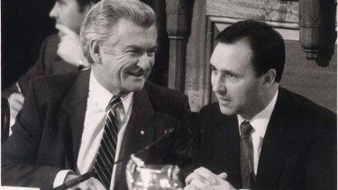 Bob Hawke and Paul Keating at the 1985 tax summit.