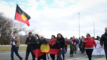 National Sorry Day Bridge Walk 2015 over Commonwealth Bridge in Canberra on Friday. It was chilly.