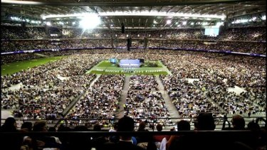 Packed: Etihad Stadium hosts the International Convention of Jehovah's Witnesses.