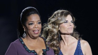 Maria Shriver appears with Oprah Winfrey during the farewell show.