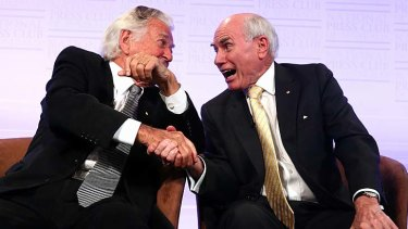 Former prime ministers Bob Hawke and John Howard get amiable at the National Press Club.