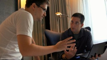 Meetings: Edward Snowden, left, and Glenn Greenwald in <i>Citizenfour</i>.