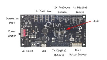 The Laika motor controller board designed for Raspberry Pi robotics projects.