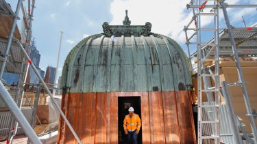 New metal has been used to refurbish Flinders Street Station's historic domes. Photo by Jason South