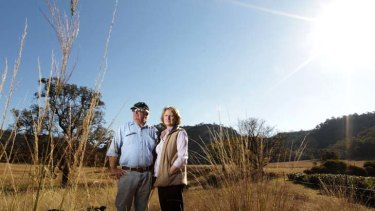 """""""This is our land people are making all this money on"""" ... Ted Hewitt with his wife Di on their property near Denman."""