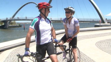 Roland Parrotte and Katherine Atkins, who is blind, have been cycling together for one year.