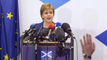 Scotland's First Minister Nicola Sturgeon answers questions during a media conference in 2016.