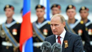 "Patriotic speech ... Russian President Vladimir Putin speaks during his visit to the Crimean port of Sevastopol. Authorities in Kiev said Putin's visit to Crimea is a ""flagrant violation"" of Ukraine's sovereignty."