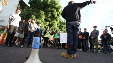 Protesters gather in Carlton to protest against plans for the east-west link.