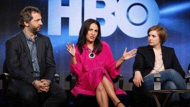 Executive producers of HBO's <i>Girls</i> Judd Apatow, Jenni Konner and Lena Dunham.