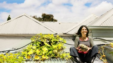 Katherine Wilson photographed on the roof of her home last year for an article in  The Age  on rooftop gardening.