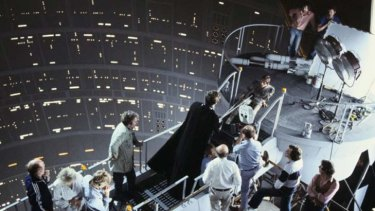 Bob Anderson as Darth Vader in a behind the scenes shot from <i>The Empire Strikes Back</i>