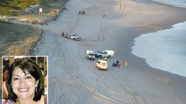 Holiday gone wrong ... South Ballina beach, where  Carole, inset, and Joseph Sherry drowned.