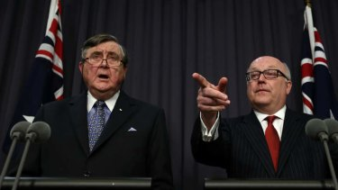 Concern over former Australian jihadists: Attorney-General Senator George Brandis (right) and Director-General of Security, David Irvine.