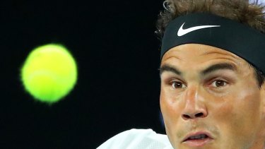 Rafael Nadal is a picture of concentration during his quarter-final against Milos Raonic on Wednesday.