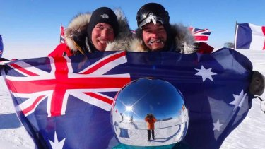 ''We have a long way to go'' … Justin Jones, left, and James Castrission after reaching the South Pole yesterday morning.
