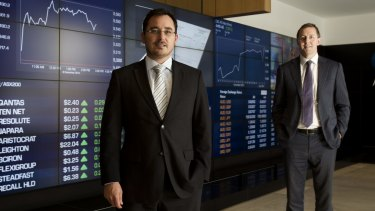 OnMarket BookBuilds chief executive officer Ben Bucknell and managing director Tim Eisenhauer at the ASX.