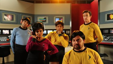 Steven Oliver, Miranda Tapsell, Aaron Fa'Aoso, Jon Bell and Matt Day in <i>Black Comedy</i> skit <i>Star Blaks</i>.