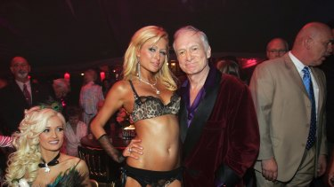 Hugh Hefner pictured with Paris Hilton during his 80th birthday party celebration at the Playboy Mansion.