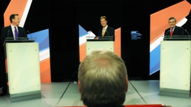 Three's a crowd... Nick Clegg takes centre stage on Thursday at the second televised debate with the Conservative leader, David Cameron, left, and the Prime Minister, Gordon Brown.