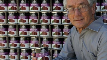 Locked out ... Dick Smith with a pallet of his beetroot.