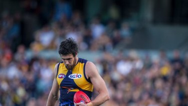 Solitary man: West Coast's Josh Kennedy kicked just the one goal against Adelaide, but needed five to claim the 2017 Coleman Medal.