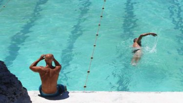 Swimmers enjoy the hot weather at Bondi Icebergs