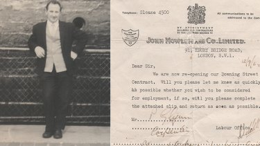 A dapper Patrick Glynn in his younger days and the contract given to John Mowlem and Company.