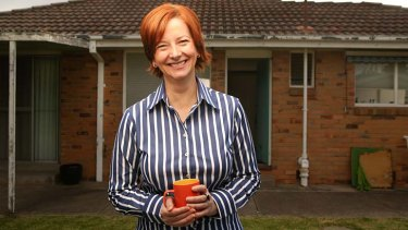 Happier project ... Ms Gillard at her home at Altona, in Melbourne, <em>not</em> the site of the troubled renovations.