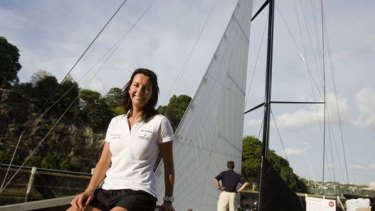 """""""I'm pumped""""... the world champion surfer Layne Beachley and Investec Loyal, which she will sail to Hobart with 23 men."""