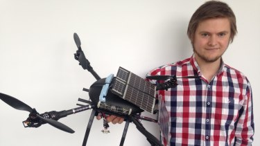 Bjorn Sjodahl, with his solar-powered quadcopter.