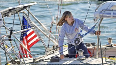 Abby Sunderland, 16, looks out from her sailboat, Wild Eyes, as she leaves for her world record attempting journey at the Del Rey Yacht Club in January this year.