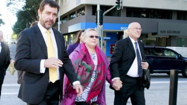 Lawyer Peter Shields with Gerard Baden-Clay's parents Nigel and Elaine during Gerard's murder trial.