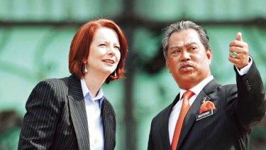 Julia Gillard with Malaysia's Deputy Prime Minister Muhyiddin Yassin on November 1, 2010.