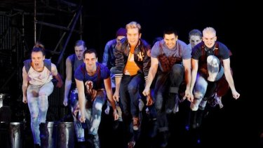 Sean Mulligan and the Jets in the Production Company's <i>West Side Story</i>.