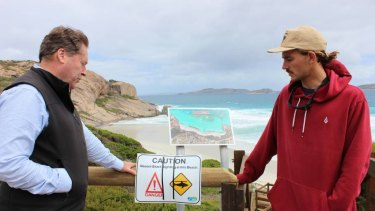 O'Connor MP Rick Wilson and Esperance Ocean Safety and Support Group founder Mitch Capelli.