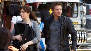 Bourne to run … CIA operative Aaron Cross (Jeremy Renner) with fellow fugitive Marta (Rachel Weisz).