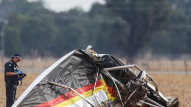 The scene of a fatal plane crash at Yarrawonga Airfield.