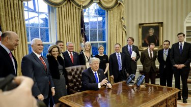 Donald Trump in the Oval Office of the White House in Washington, DC.