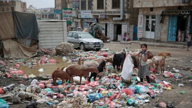 A girl scavenges at a garbage dump in a street in Sanaa, Yemen.