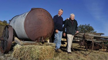''It was used when my grandfather and his brother came here'' … Malcolm and Russell Heath with the Furphy water cart at Pinecliff farm, near Gunnedah.