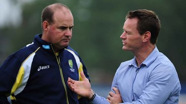 Big call: Mickey Arthur, left, pictured talking to high performance chief Pat Howard in June 2012.
