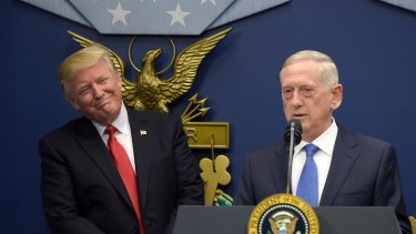 President Donald Trump (left) listens as Defence Secretary James Mattis speaks at the Pentagon in Washington, Friday, January 27, 2017.