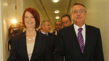 Off we go ... Ms Gillard and Mr Swan emerge from the leadership ballot.
