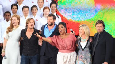 Farewell Australia ... Oprah Winfrey with celebrity guests.